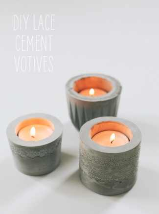 DIY Lace Cement Votives