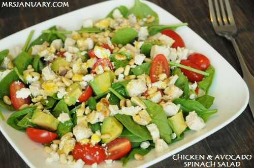 Spinach Chicken Avocado Salad