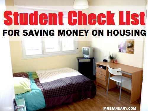 Student Check List Save On Housing