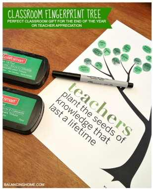Teacher Fingerprint Tree Gift