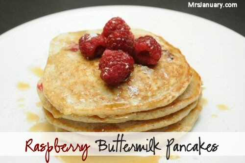 Whole Wheat Raspberry Buttermilk Pancakes