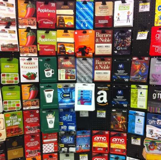 gift cards rack