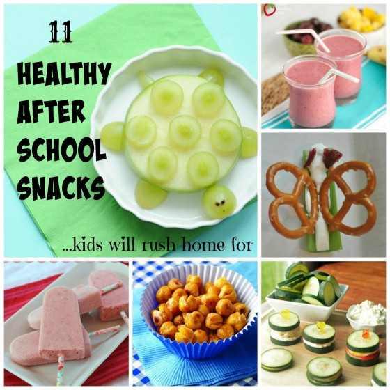 school snacks collage