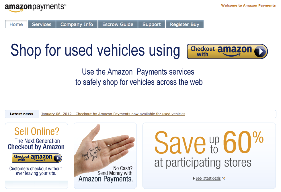 Amazon Payments screen shot