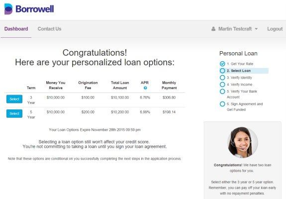 Borrowell personalized loan options: 3 year and 5 year terms at 6.76% APR