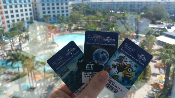 Loews Sapphire Falls room keys have additional benefits like early admission and you can charge on the card.