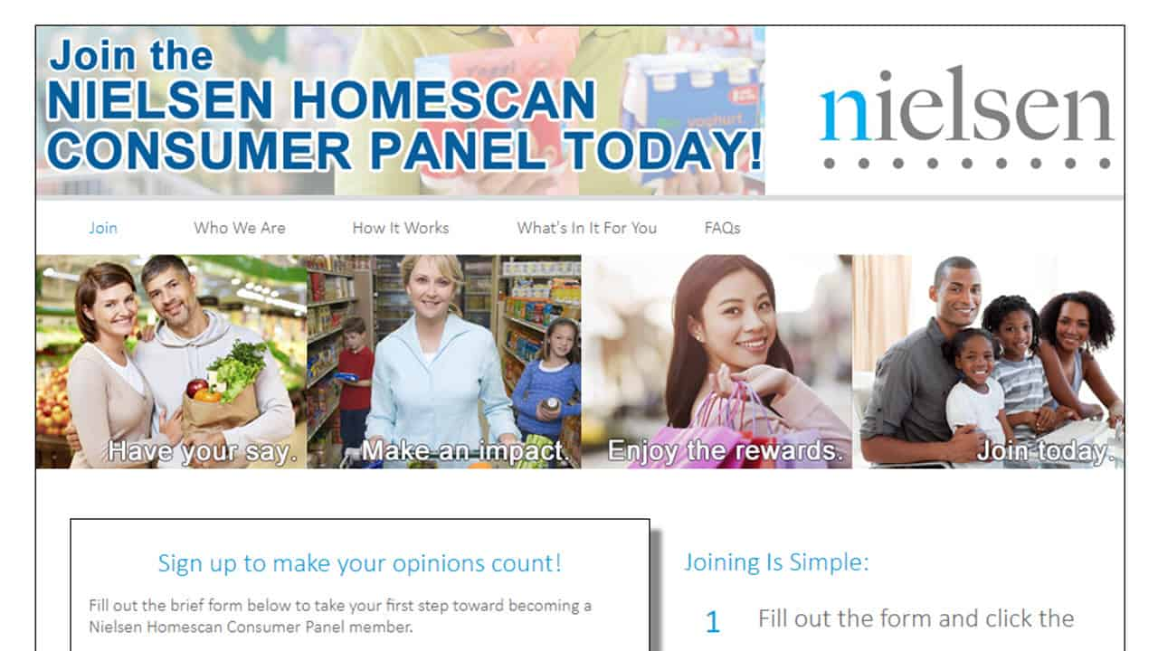 Nielson Homescan signup screen