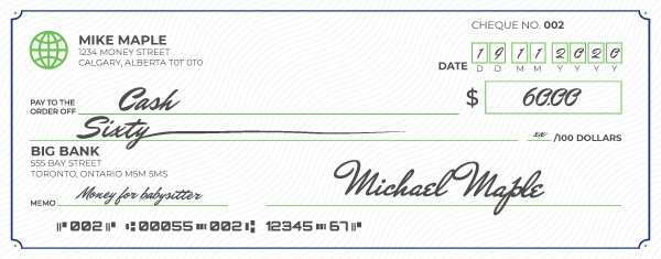An example of how to write a cheque to cash.