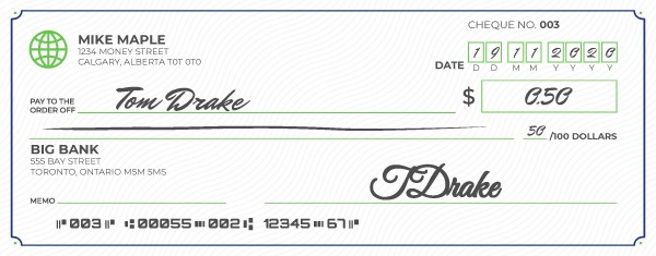 An example of how to write a cheque for less than one dollar.